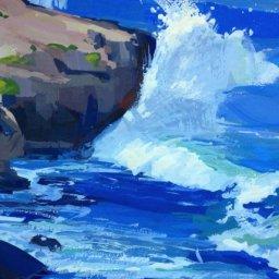 """Kauai Coast ● 5"""" x 7"""" ● Gouache ● $250"""