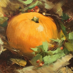 """Fall Arrangement with Pumpkin and Berries ● 6"""" x 6"""" ● Oil ● SOLD"""