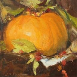 "Fall Pumpkin in Autumns Orange ● 6"" x 6"" ● Oil ● SOLD"