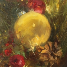 "Golden Christmas ● 6"" x 6"" ● Oil ● $475"