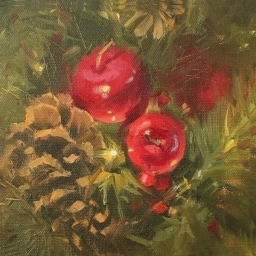 "Merry and Bright ● 6"" x 6"" ● Oil ● $475"