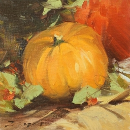 "Pumpkin Arrangement ● 6"" x 6"" ● Oil ● $475"