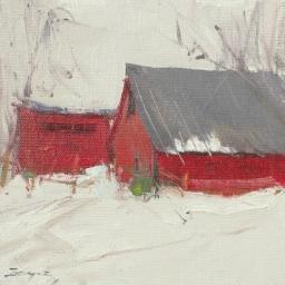 "Winter Barn ● 6"" x 6"" ● Oil ● SOLD"