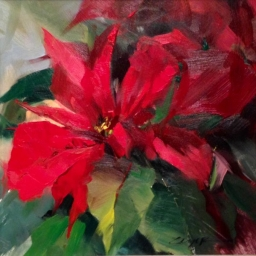 "Poinsettia ● 8"" x 8"" ● Oil ● SOLD"