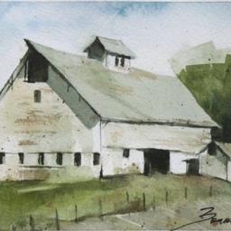 "White Barn ● 4"" x 5 3/4"" ● Watercolor ● SOLD"