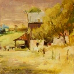 """Rigby Barn Study ● 6"""" x 6"""" ● Oil ● $425"""