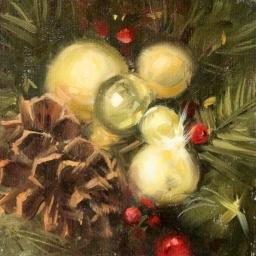 "Christmas Trimmings ● 6"" x 6"" ● Oil ● $475"