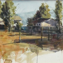 "Pleasant Grove Woodyard ● 12 7/8  x 17 3/4"" ● Watercolor ● $900"