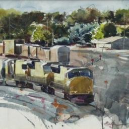 "Springville Tracks ● 13 1/4"" x 18 1/4"" ● Watercolor ● $900"