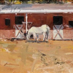 """Horse and Trough ● 8""""  x 10"""" ● Oil ● $435"""