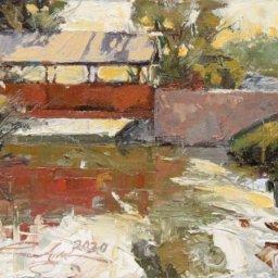 "Bridge on River ● 6""  x 8"" ● Oil ● $325"