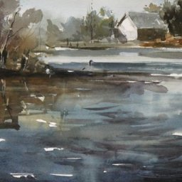 "Water Scene ● 9 1/2"" x 13"" ● Watercolor (no frame) ● $200"