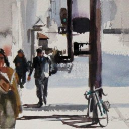 """The Daily Grind ● 5 1/2"""" x 8"""" ● Watercolor (no frame) ● $130"""