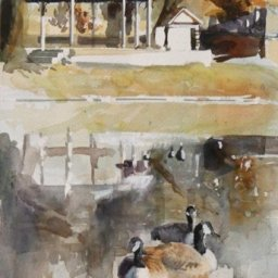 """Wasatch Geese  ● 7 1/2"""" x 13 1/4"""" ● Watercolor (no frame) ● $200"""