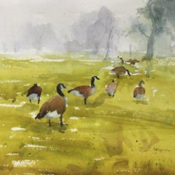 """Geese in Fog  ● 9"""" x 12 1/2"""" ● Watercolor (no frame) ● $200"""