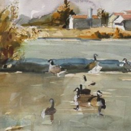 """Geese  ● 7 1/2"""" x 12"""" ● Watercolor (no frame) ● $200"""