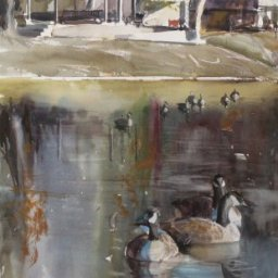 """Geese in Wasatch  ● 14"""" x 27 1/4"""" ● Watercolor (no frame) ● $350"""