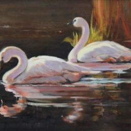 """Swan Lake ● 16"""" x 20"""" ● Oil ● $1600"""