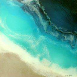 "Little Cayman ● 30"" x 30"" ● Resin Mixed Media ● $3200"