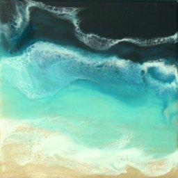 "Blue Bliss ● 10"" x 10"" ● Resin Mixed Media ● $700"