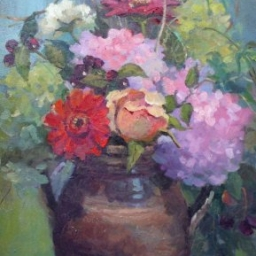 "Hydrangea Arrangement ● 15"" x 30"" ● Oil ● $2500"