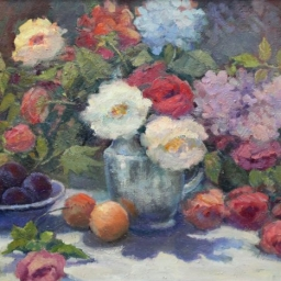 "Roses Hydrangea and Plum ● 22"" x 28"" ● Oil ● $3800"