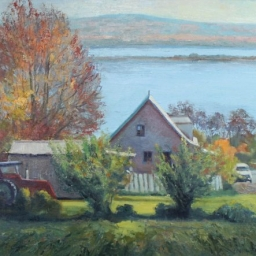 "Farm by the Lake ● 18"" x 24"" ● Oil ● $2200"