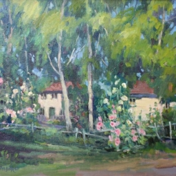 "Hollyhocks and Cottages ● 16"" x 20"" ● Oil ● $1600"