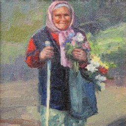 "Russian Lady with Flowers ● 8"" x 10"" ● Oil ● $500"