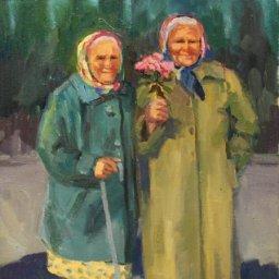 """Two Women of Uglich ● 12"""" x 16"""" ● Oil ● $950"""