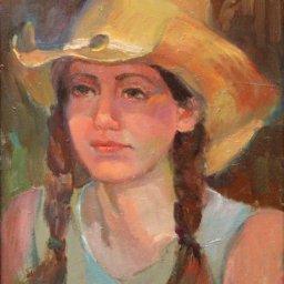 """Girl in Western Hat ● 12"""" x 16"""" ● Oil ● $950"""