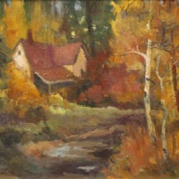 "House in Forest ● 12"" x 16"" ● Oil ● $800"