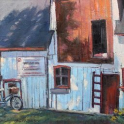 "Shapes Barn and Bike ● 16"" x 20"" ● Oil ● $1500"