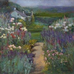 """Garden Path ● 18"""" x 18"""" ● Oil ● $1600"""