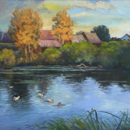 "English Duck Pond ● 24"" x 30"" ● Oil ● $3500"