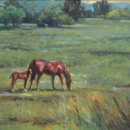 "Mother Horse & Colt ● 16"" x 20"" ● Oil ● SOLD"