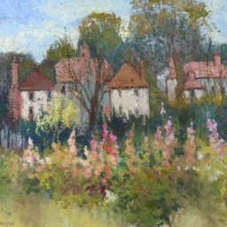 "Hollyhocks and Cottages ● 16"" x 20"" ● Oil ● SOLD"