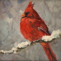 "Winter Red ● 6"" x 6"" ● Oil ● $300"