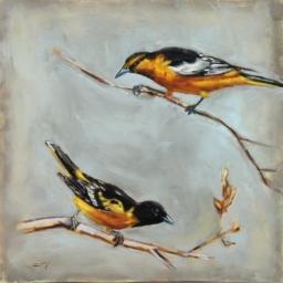 """Birds I ● 10"""" x 10"""" ● Oil ● SOLD"""