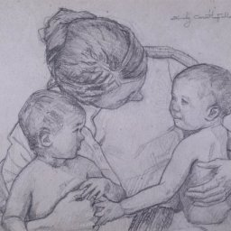 """Mother with Children ● 5"""" x 7"""" ● Graphite ● SOLD"""