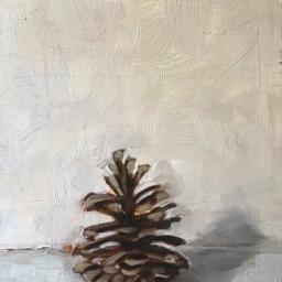 """Pine Cone ● 6 1/2"""" x 10"""" ● Oil ● $300"""