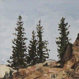 "Trees at Cecret Lake ● 5"" x 5"" ● Watercolor ● $250"