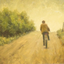 "Steve McGinty ● Riding Home ● 12"" x 12 1/2"" ● Oil ● SOLD"