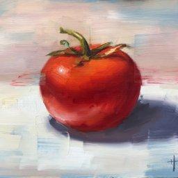 """Bright Red Tomato ● 8"""" x 10"""" ● Oil ● SOLD"""