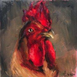 "Red Head ● 5"" x 5"" ● Oil ● $225"
