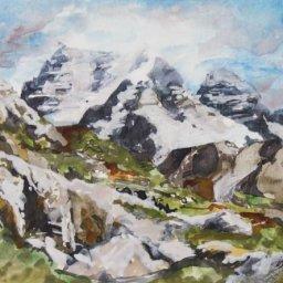 """High Mountain Spring ● 9"""" x 12"""" ● Watercolor and Gouache ● $500"""