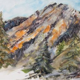 """Mount Olympus ● 10"""" x 13"""" ● Watercolor and Gouache ● $550"""