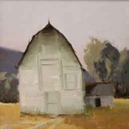 """White Barn ● 10"""" x 10"""" ● Oil ● $600"""