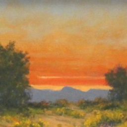 "Sunset and Rabbit Brush ● 6"" x 8"" ● Oil ● $275"