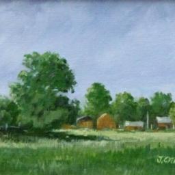 """English Farm Scene ● 6"""" x 8"""" ● Oil ● SOLD"""